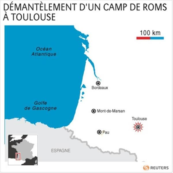 Démantèlement d'un camp de roms à toulouse