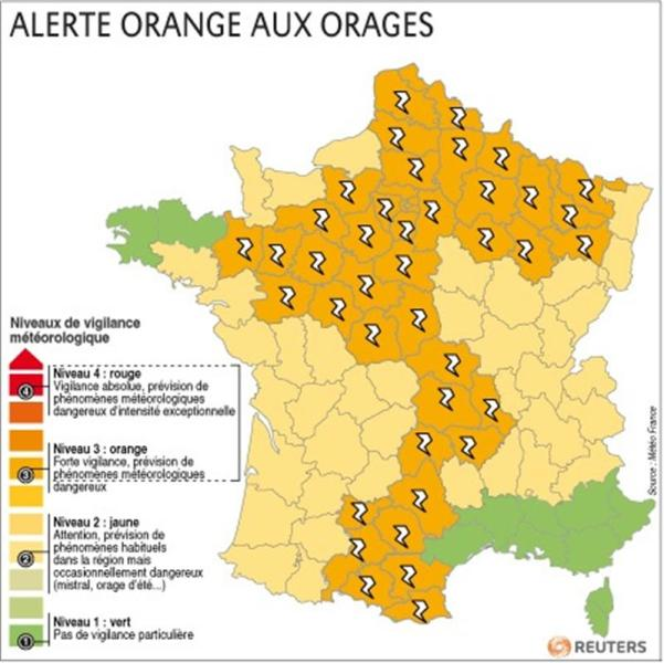 Alerte orange aux orages