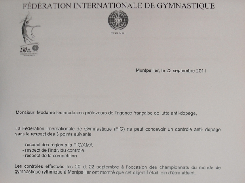 Dopage : quand la fédération internationale de gymnastique se rebelle…