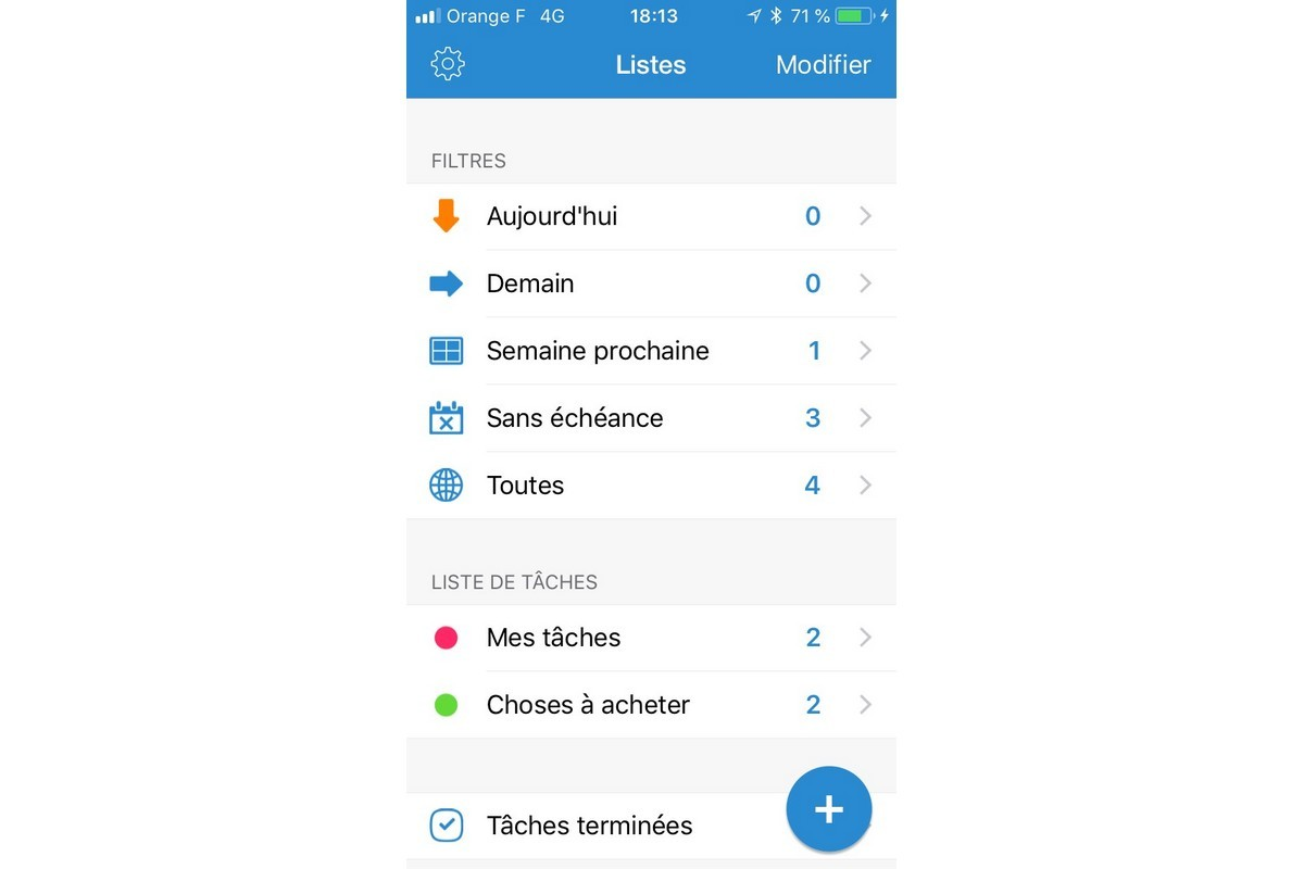 L'application iOS de Google Tasks.