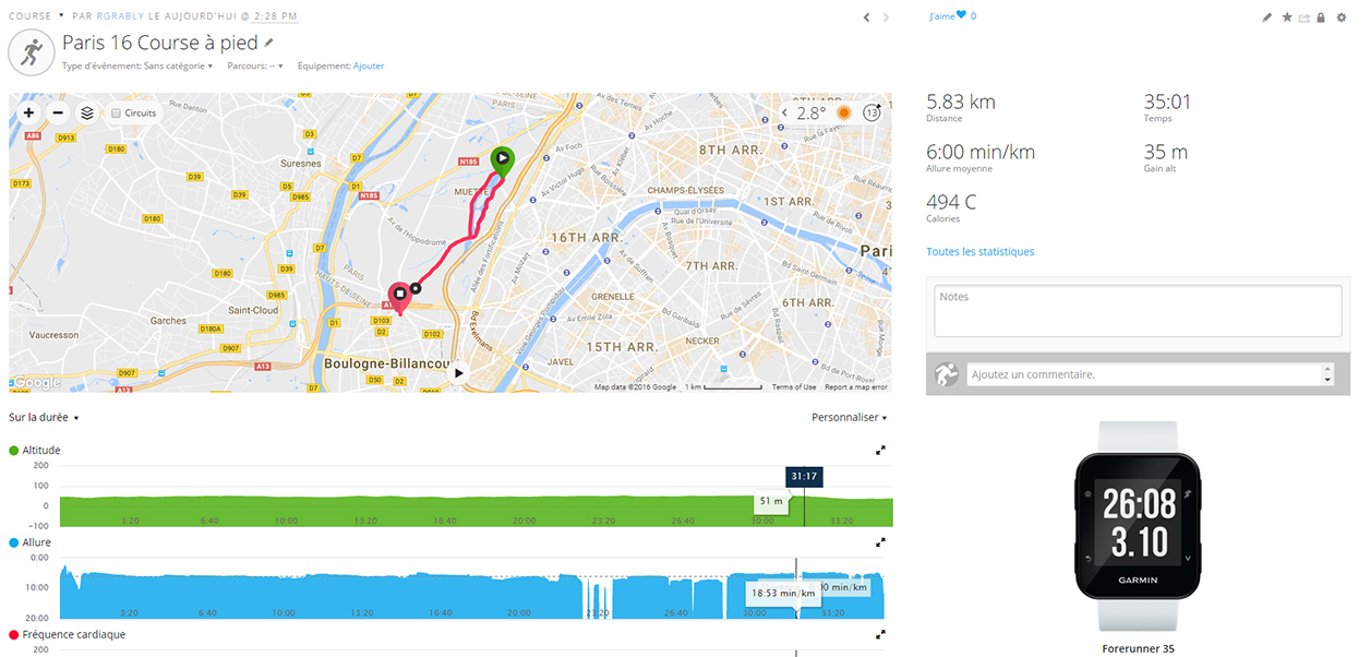 Le site Garmin Connect