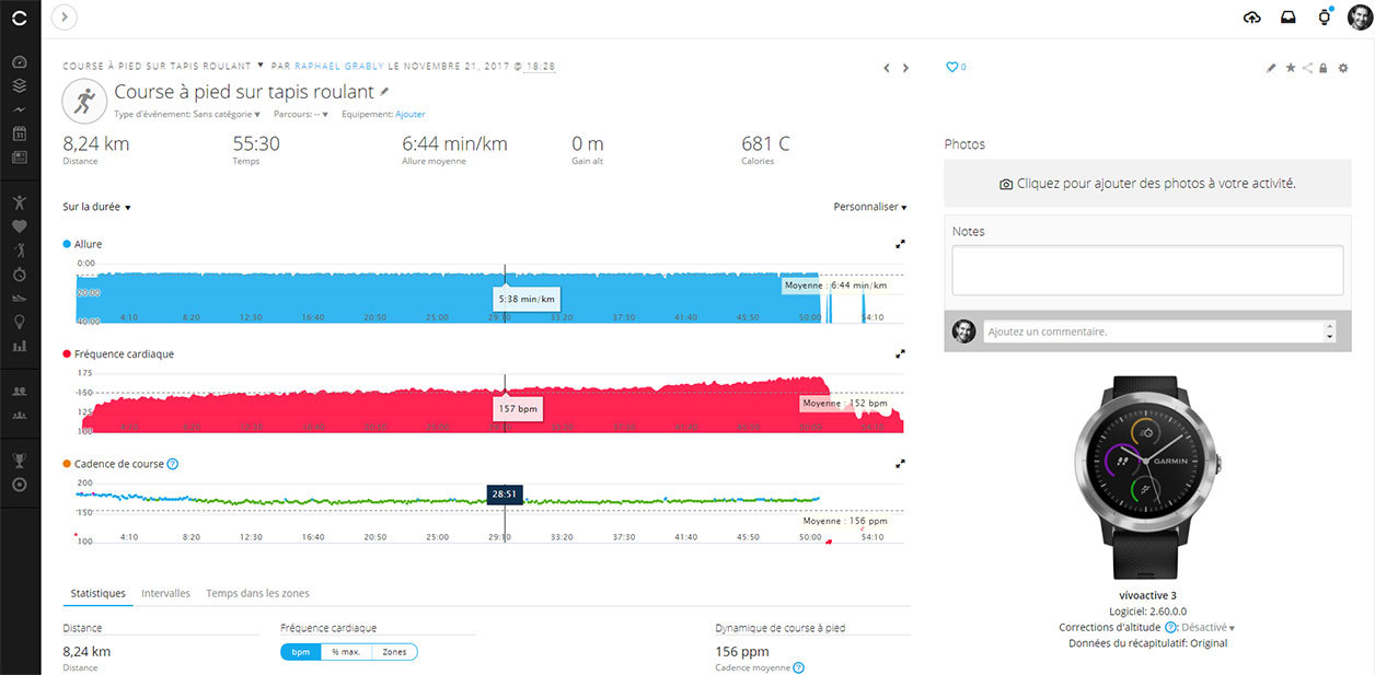 Interface Web du site Garmin Connect