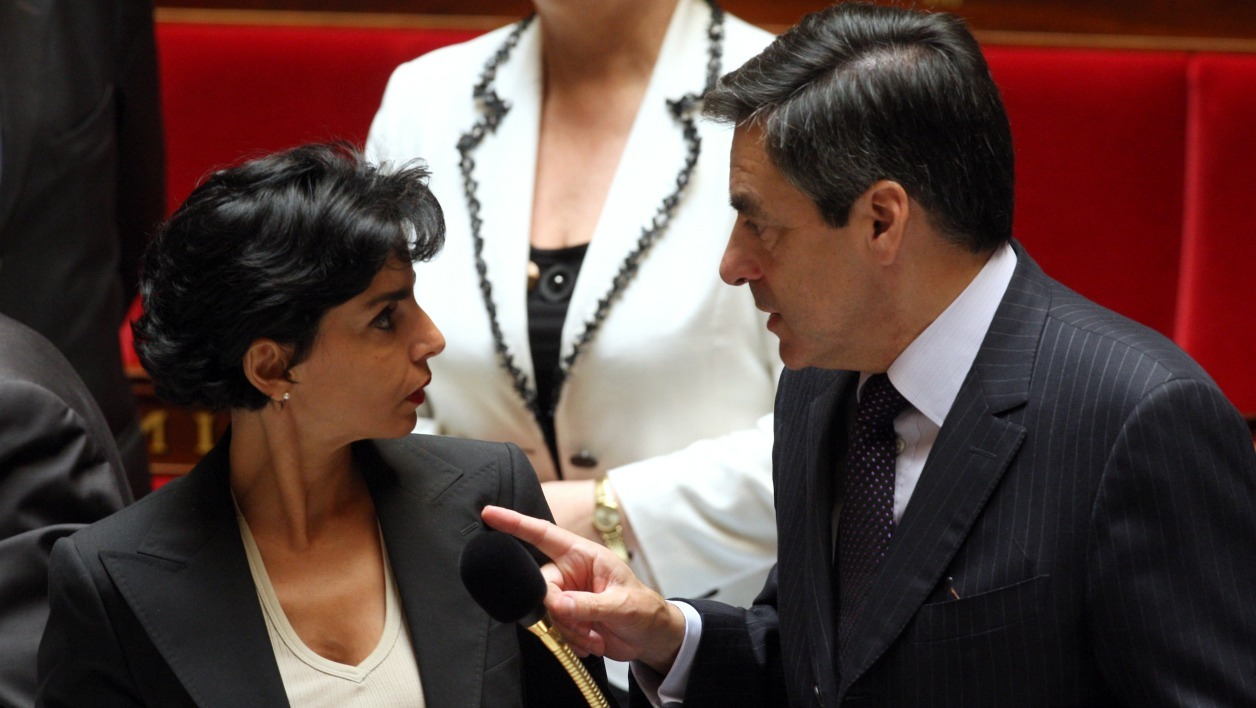 French Prime Minister Francois Fillon gestures with Justice Minister Rachida Dati at the French National Assembly after the weekly questions to the government' session on June 11, 2008 in Paris. AFP PHOTO THOMAS COEX THOMAS COEX / AFP