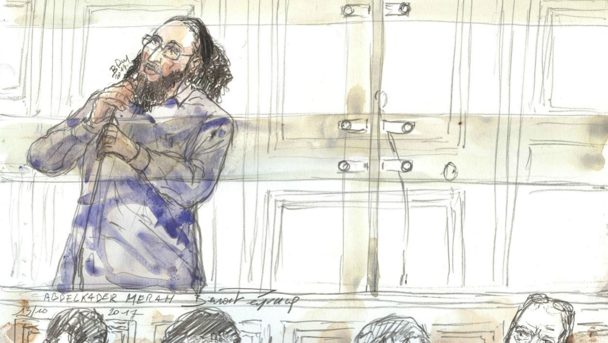 This file photo court sketch made on October 13, 2017 in a courthouse in Paris, shows Abdelkader Merah gesturing during his trial for complicity in the series of shootings committed by his brother Mohamed in Toulouse and Montauban in 2012.