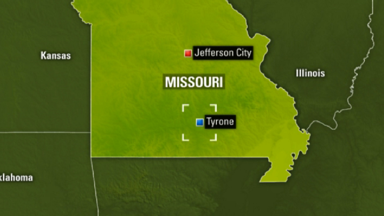 Tyrone dans le Missouri, au centre des Etats-Unis. Infographie.