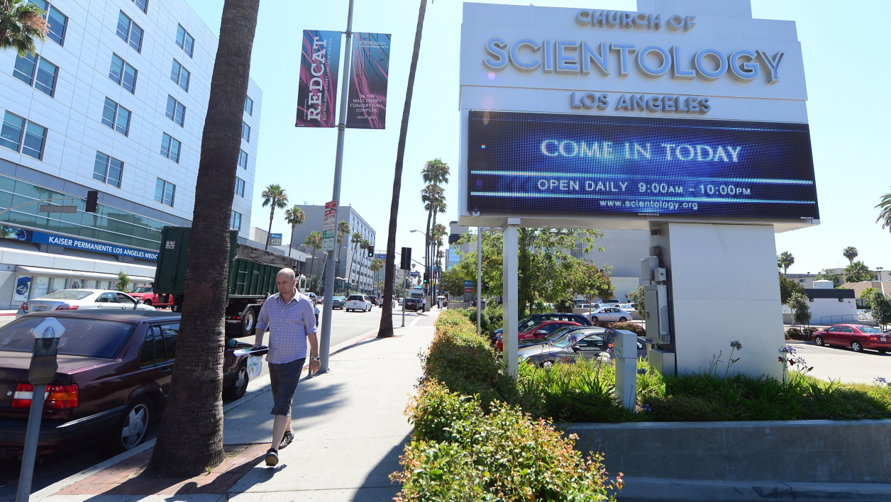Devant l'Eglise de Scientologie, à Hollywood, en 2012. (photo d'illustration)