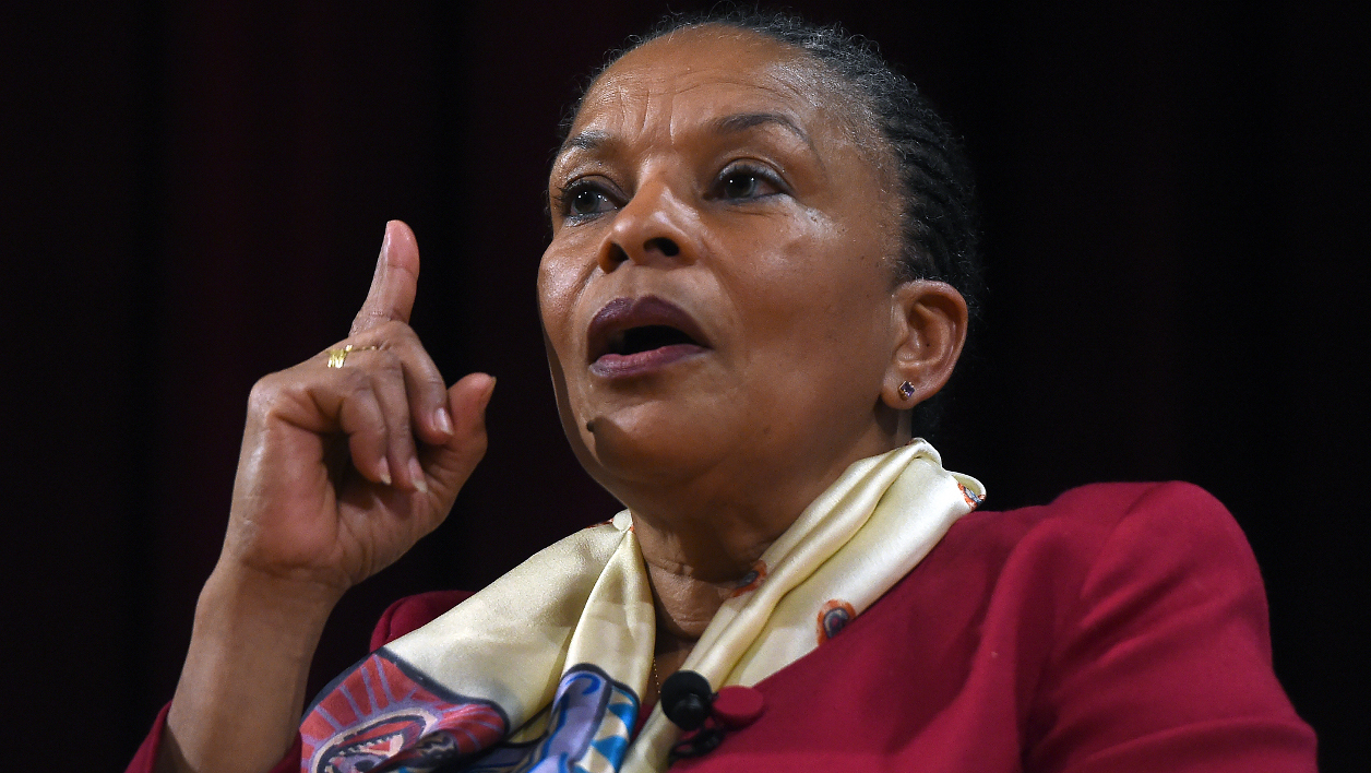 """Former French Justice Minister Christiane Taubira speaks at a campus of the New York University on January 29, 2016, in New York. Taubira quit in protest over the government's efforts to strip convicted French-born terrorists of their citizenship if they have a second nationality. Taubira, popular among the ruling Socialists of President Francois Hollande but a target of criticism from right-wing politicians, tweeted: """"Sometimes to resist means staying, sometimes resisting means leaving."""" Jewel Samad / AFP"""