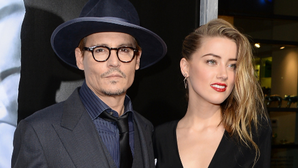 Johnny Depp et Amber Heard, le 12 février 2014 à Hollywood.