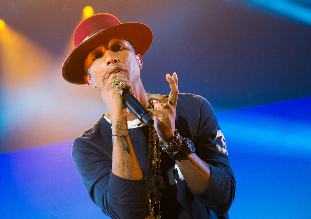 Pharrell Williams, en concert en Allemagne, le 16 septembre 2014.