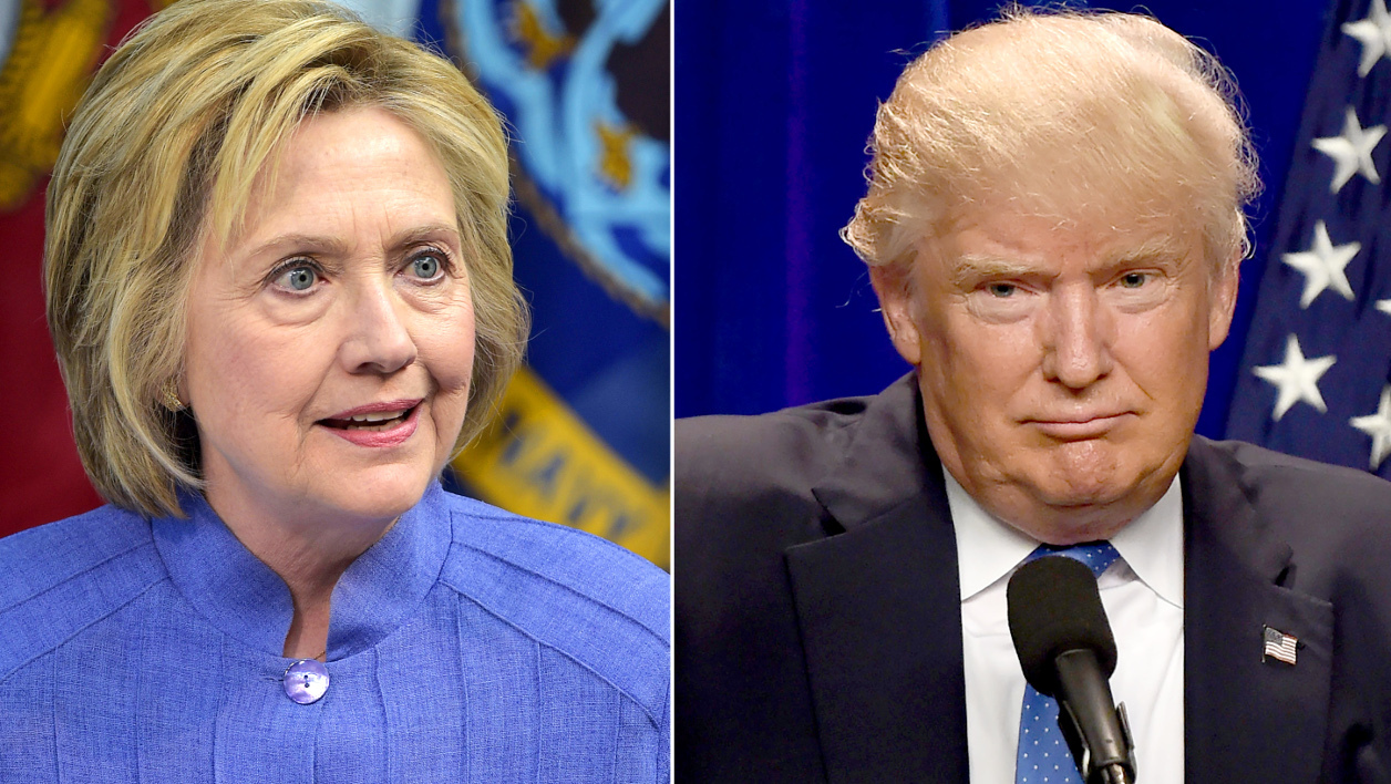 This combination of file photos shows Democratic presidential candidate Hillary Clinton(L)on June 15, 2016 and presumptive Republican presidential nominee Donald Trump on June 13, 2016.  dsk / AFP