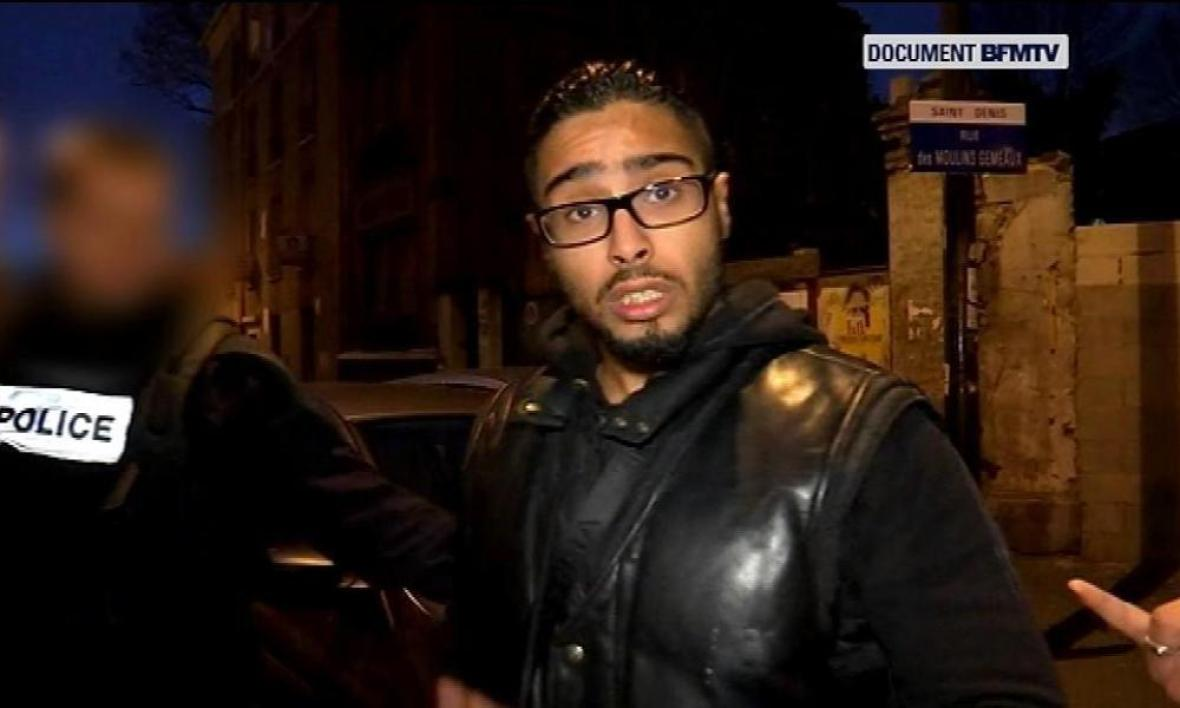 Jawad Bendaoud le jour de son arrestation, à Saint-Denis.