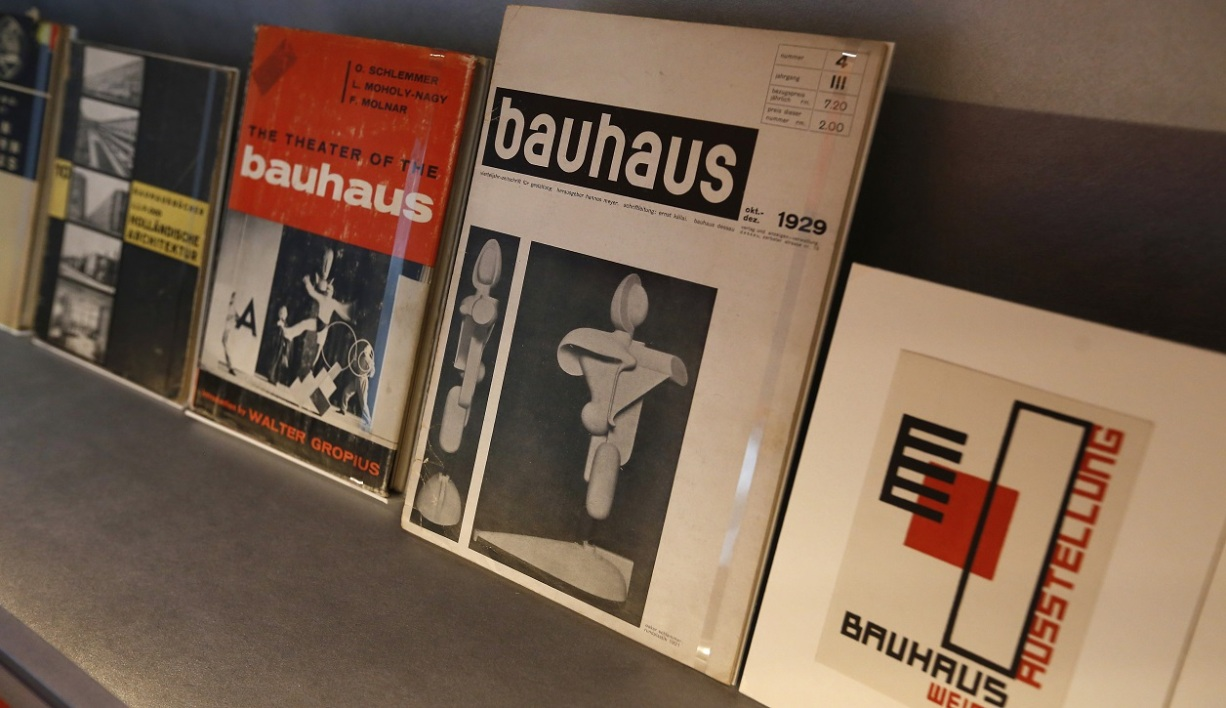 "Books on the German art school Bauhaus are pictured on October 12, 2016 during the exhibition ""Oskar Schlemmer L&squot;homme qui danse"" (Oskar Schlemmer, The Dancing Artist)at the Centre Pompidou-Metz, eastern France."