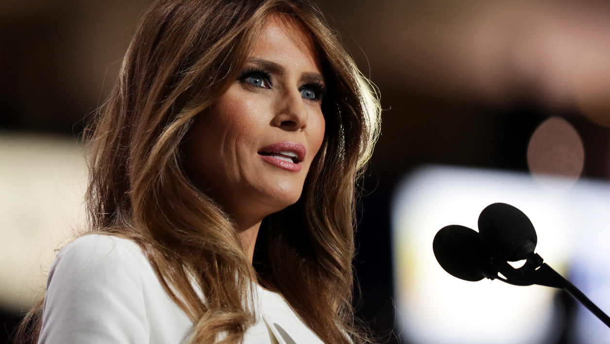 CLEVELAND, OH - JULY 18: Melania Trump, wife of Presumptive Republican presidential nominee Donald Trump, delivers a speech on the first day of the Republican National Convention on July 18, 2016 at the Quicken Loans Arena in Cleveland, Ohio. An estimated 50,000 people are expected in Cleveland, including hundreds of protesters and members of the media. The four-day Republican National Convention kicks off on July 18. Chip Somodevilla/Getty Images/AFP  CHIP SOMODEVILLA / GETTY IMAGES NORTH AMERICA / AFP