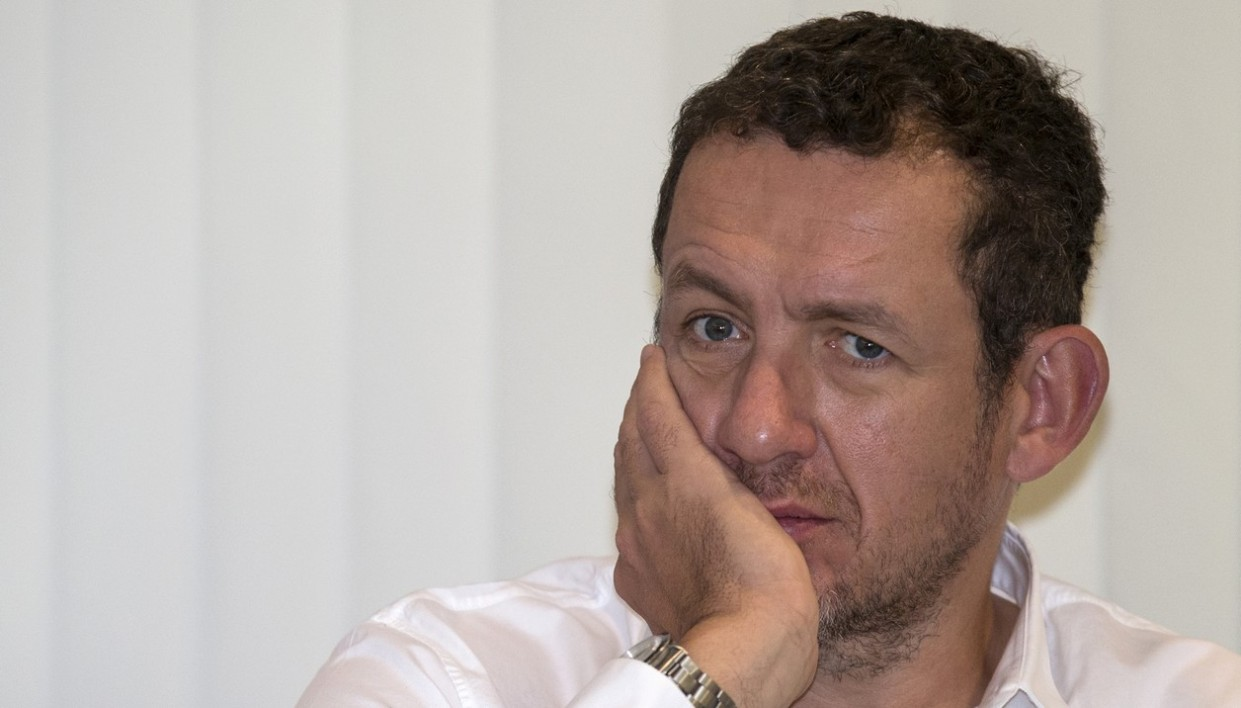 """French actor, director and humorist Dany Boon looks on during a press conference to present his latest film titled """"Supercondriaque"""" on December 16, 2014 in the Israeli coastal city of Tel Aviv. """"Supercondriaque"""" will be released on Israeli screens on December 25"""
