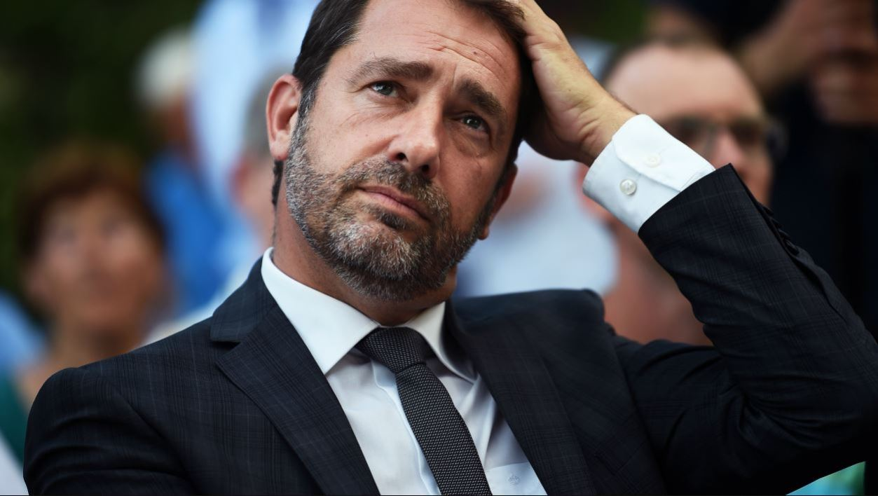 """Christophe Castaner, French Minister of State for Relations with Parliament, government spokesperson and """"La Republique En Marche"""" (LREM) party candidate in the second constituency of the Alpes-de-Haute-Provence for France's legislative elections, attends a campaign meeting with the LREM candidate in the 3rd district of the Vaucluse, on June 14, 2017, in Carpentras."""