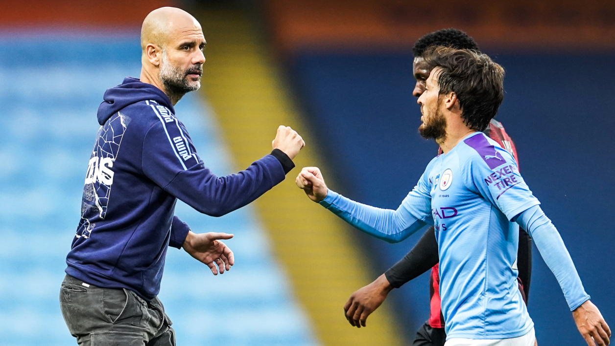 Pep Guardiola et David Silva
