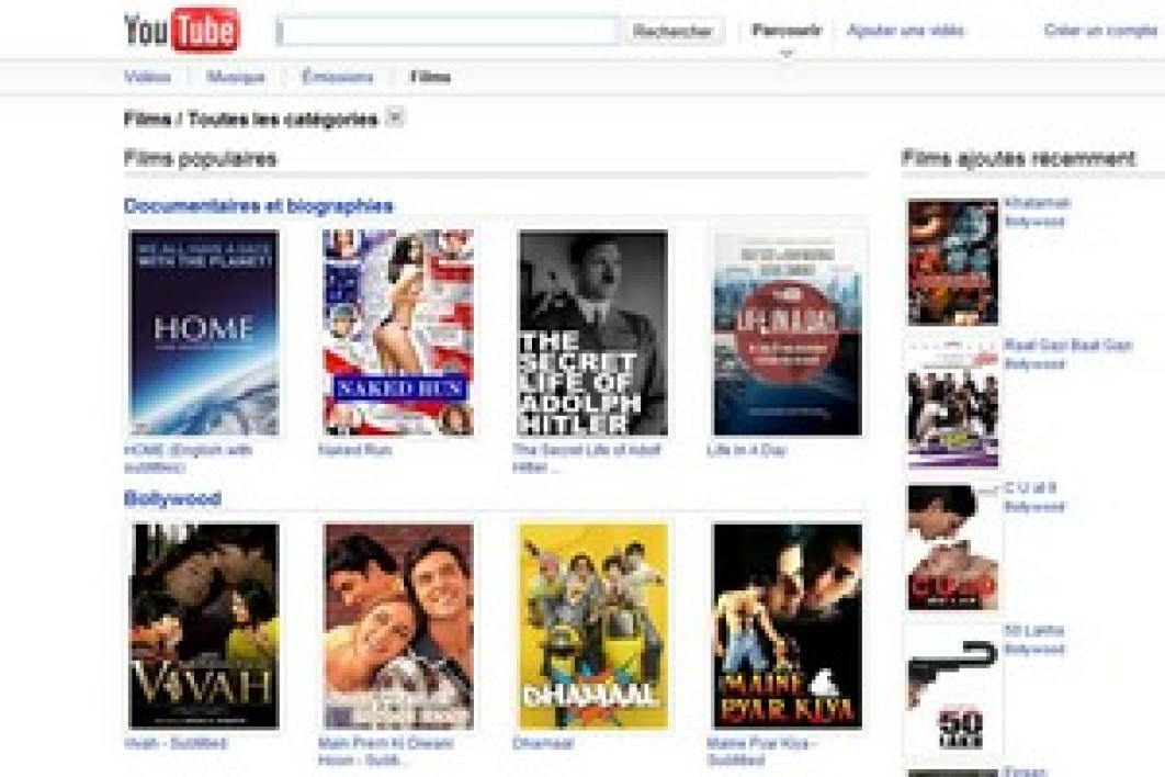 YouTube diffuse 400 films gratuits