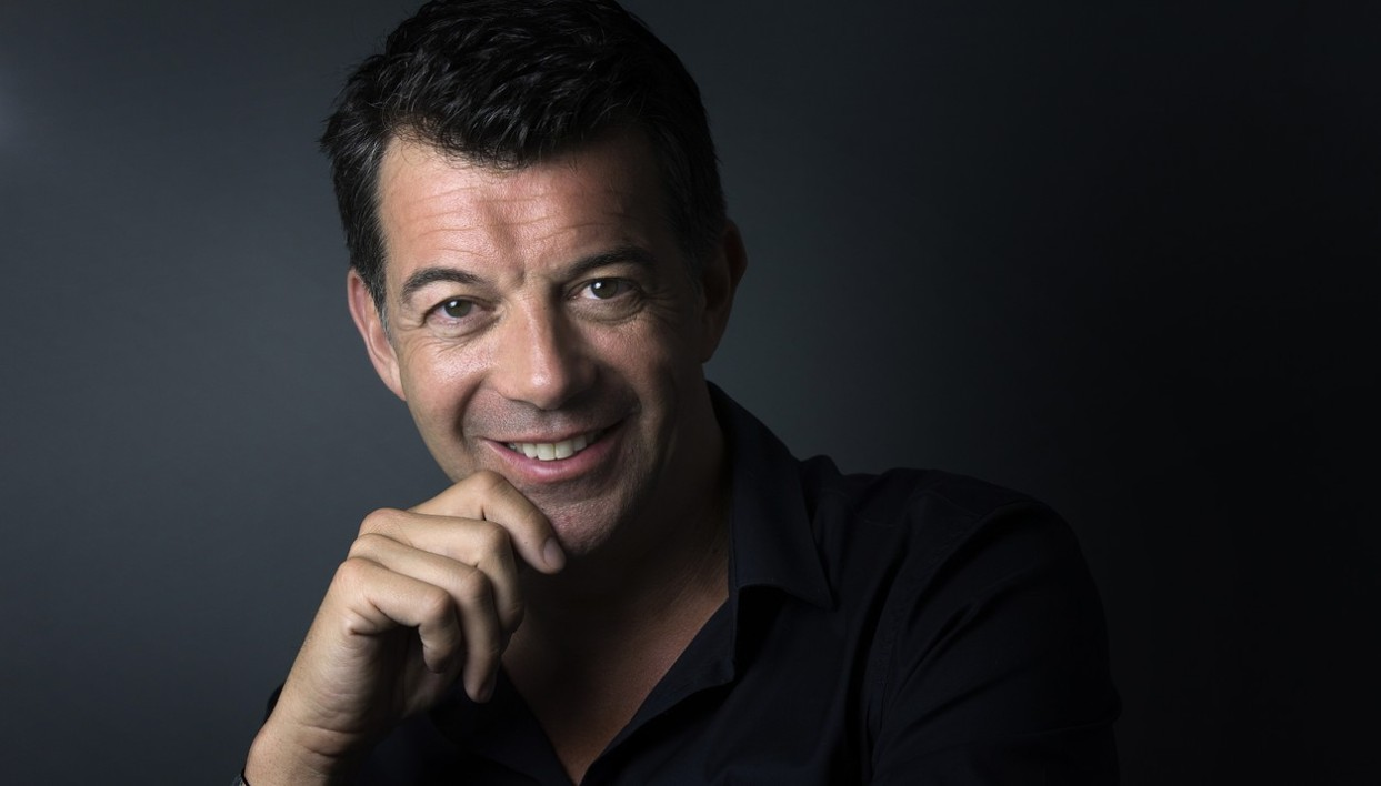 French TV host and real estate agent Stephane Plaza poses in his agency in Paris, on May 21, 2015.