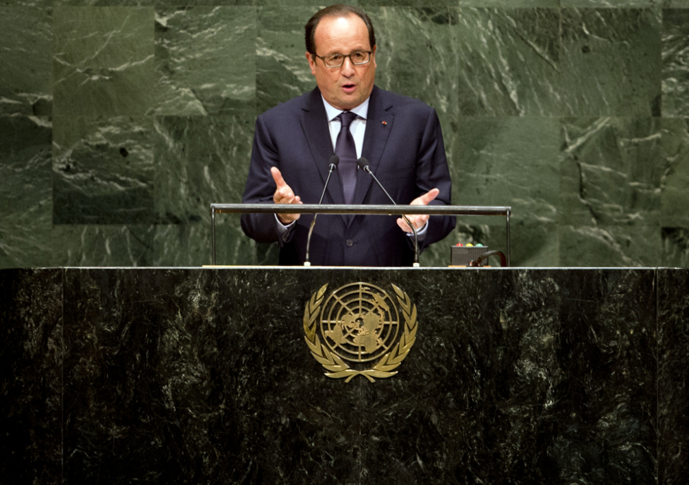 UNITED STATES, New York : French president Francois Hollande delivers a speech, as part of the 69th United Nations General Assembly, on September 24, 2014, in New York-AFP PHOTO/ ALAIN JOCARD