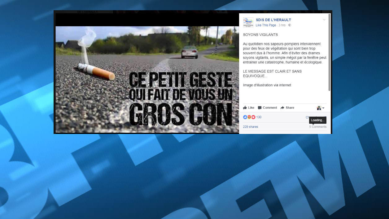 Le message de prévention original des pompiers de l'Hérault — Incendies