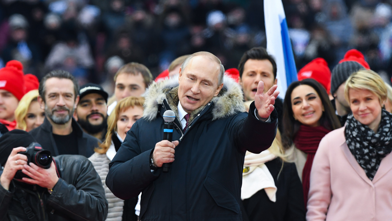 Poutine Moscow on March 3, 2018. Russians will go to the polls on March 18, 2018. Kirill KUDRYAVTSEV / AFP
