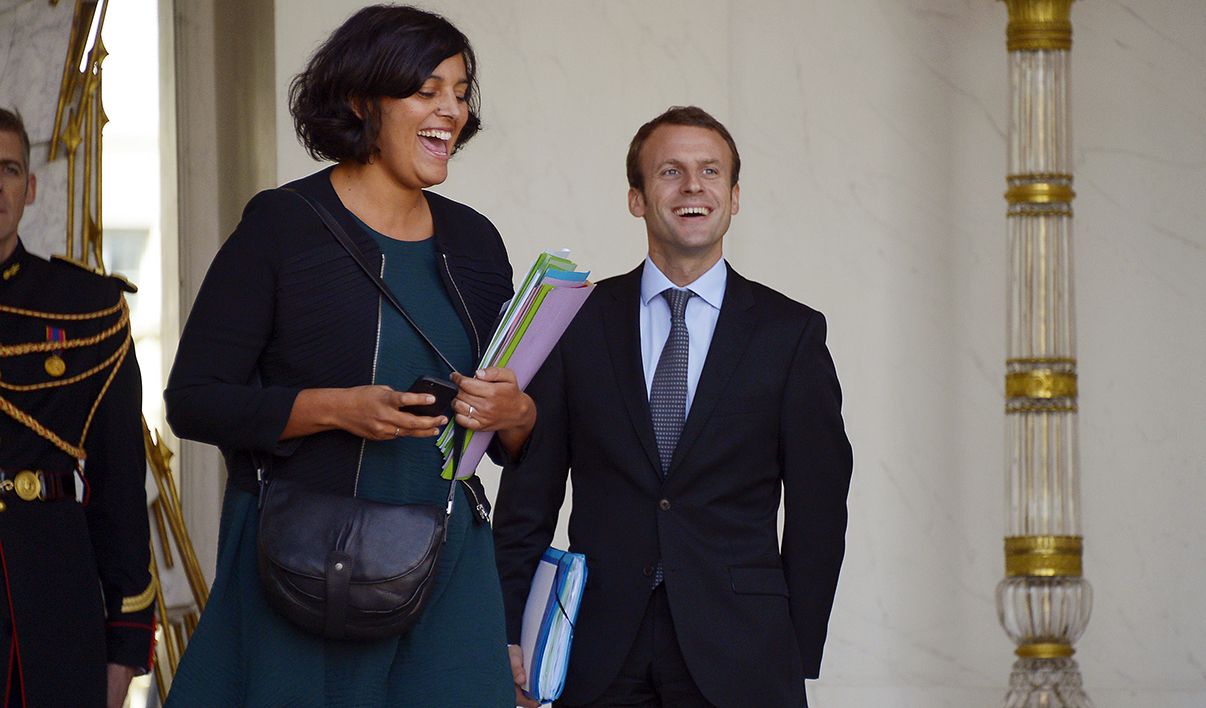 French Labour minister Myriam El Khomri (L) and Economy and Industry minister Emmanuel Macron leave after a weekly cabinet meeting at the Elysee presidential palace on September 23, 2015