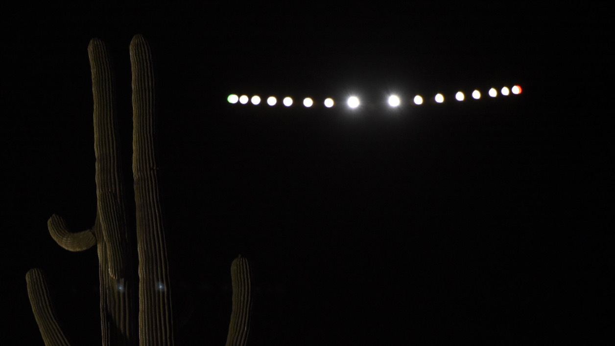 A handout picture taken and released by on May 12, 2016 by Solar Impulse 2 shows the experimental solar-powered aircraft Solar Impulse 2 taking off from Phoenix, Arizona, en route to Oklahoma, for the latest stage of its around-the-world flight aimed at drawing attention to clean energy technologies. The Solar Impulse 2 plane took off from Phoenix, Arizona en route to Oklahoma on May 12, resuming its record-breaking quest to circle the globe without consuming a drop of fuel. The flight to the city of Tulsa is expected to take about 18 hours.  CHRISTOPHE CHAMMARTIN / Solar Impulse 2 / AFP