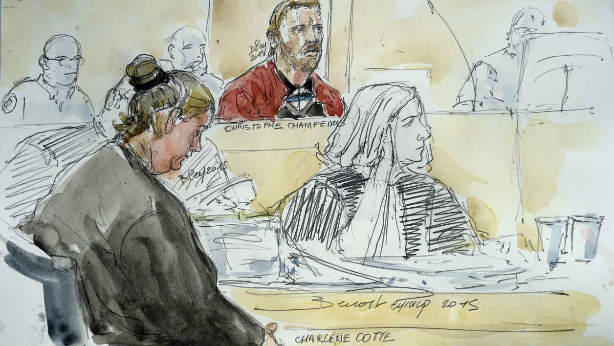 A court sketch made on September 8, 2015, shows Charlene Cotte (L) and Christophe Champenois (C), the parents of Bastien, a three-year-old boy who died after getting locked in a washing machine by his father as a punishment, during their trial at the Assize Court in Melun, in a Paris' suburb. On November 28, 2011, Bastien's father, Christophe Champenois, then aged 33, was charged and jailed. The mother, Charlene Cotte, claims her innonence. AFP PHOTO / BENOIT PEYRUCQ