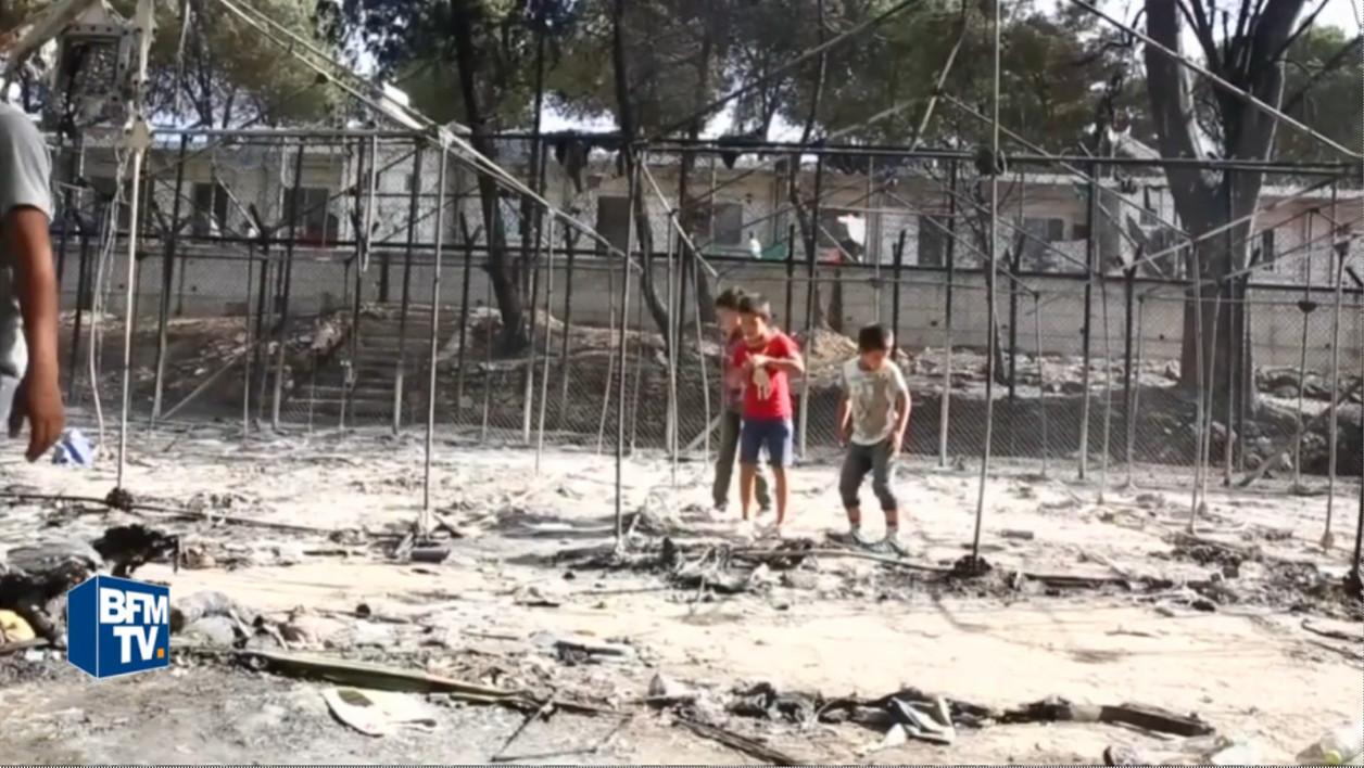 Le camp de Moria, à Lesbos, incendié lors d'affrontements entre migrants et policiers, le 19 septembre dernier. (Photo d'illustration)