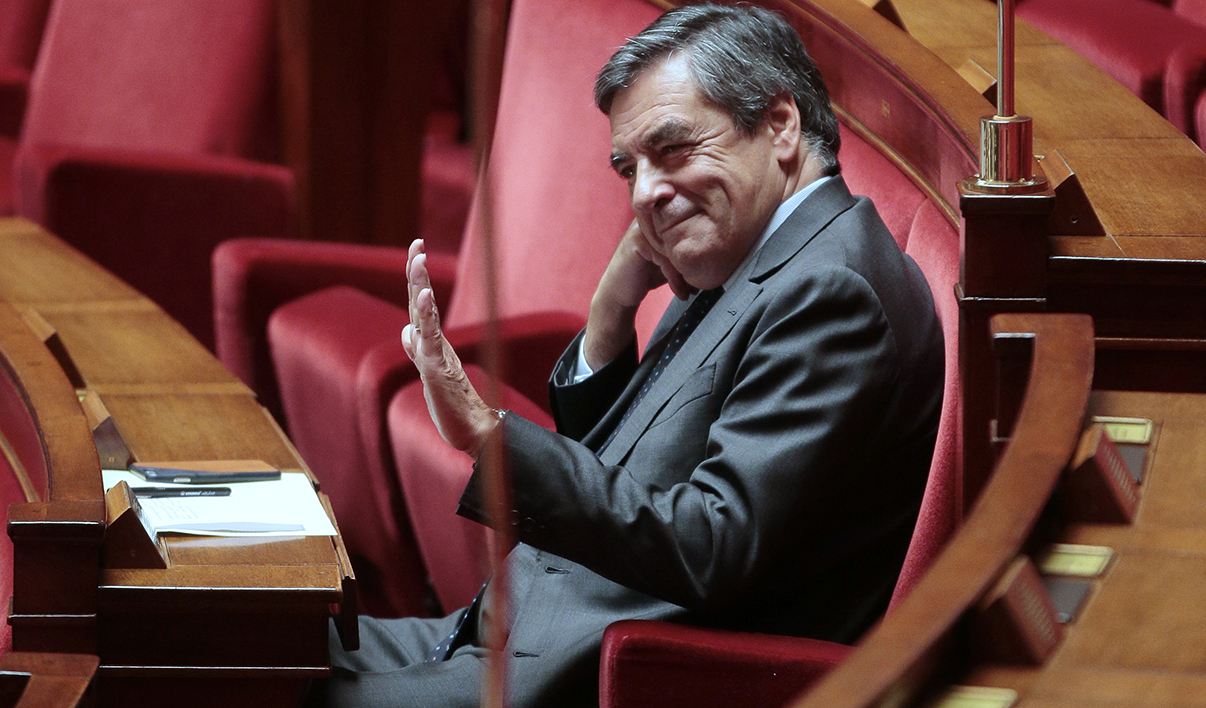 Former French Prime Minister Francois Fillon gestures as he attends a session of questions to the government at the National Assembly on October 20, 2015 in Paris.