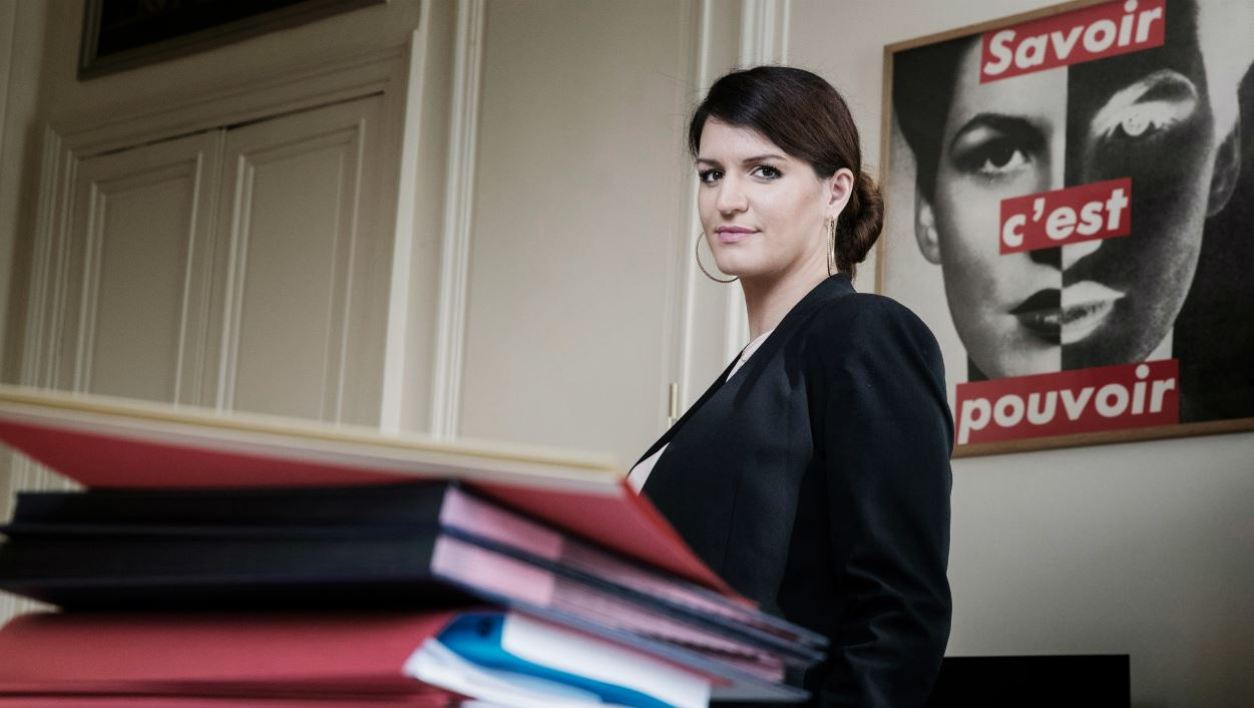 French Junior Minister for Gender Equality Marlene Schiappa poses during a photo session in her office in Paris on October 31, 2017.  JOEL SAGET / AFP