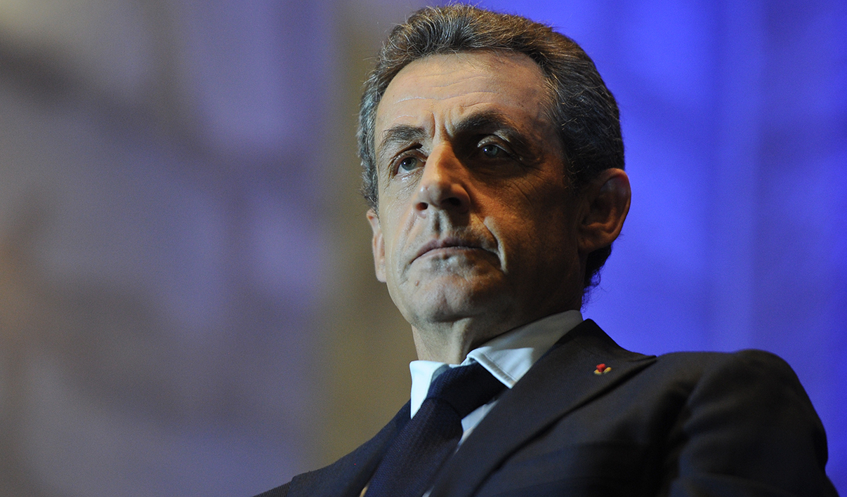 Former French President and current French right-wing opposition Les Republicains (LR) party President Nicolas Sarkozy attends a campaign meeting for LR's top candidate for the regional elections in the Aquitaine-Limousin-Poitou-Charente region, Virginie Calmels in Rochefort on December 8, 2015, ahead of the second round of the French regional elections.