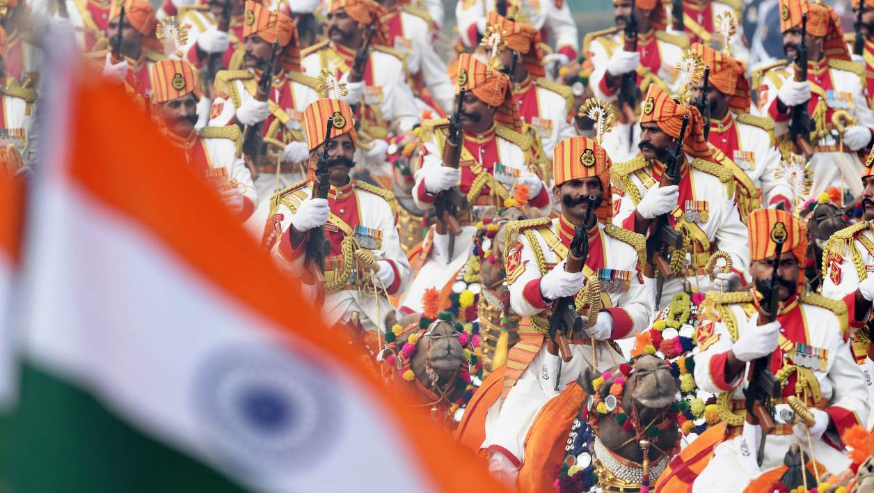 The Indian Border Security Force marching contingent ride camels during India's Republic Day parade in New Delhi on January 26, 2016. Thousands gathered in New Delhi amid tight security January 26 for India's annual Republic Day parade, a pomp-filled spectacle of military might featuring camels and daredevil stuntwomen, with French President Francois Hollande the chief guest. AFP PHOTO / Roberto SCHMIDT