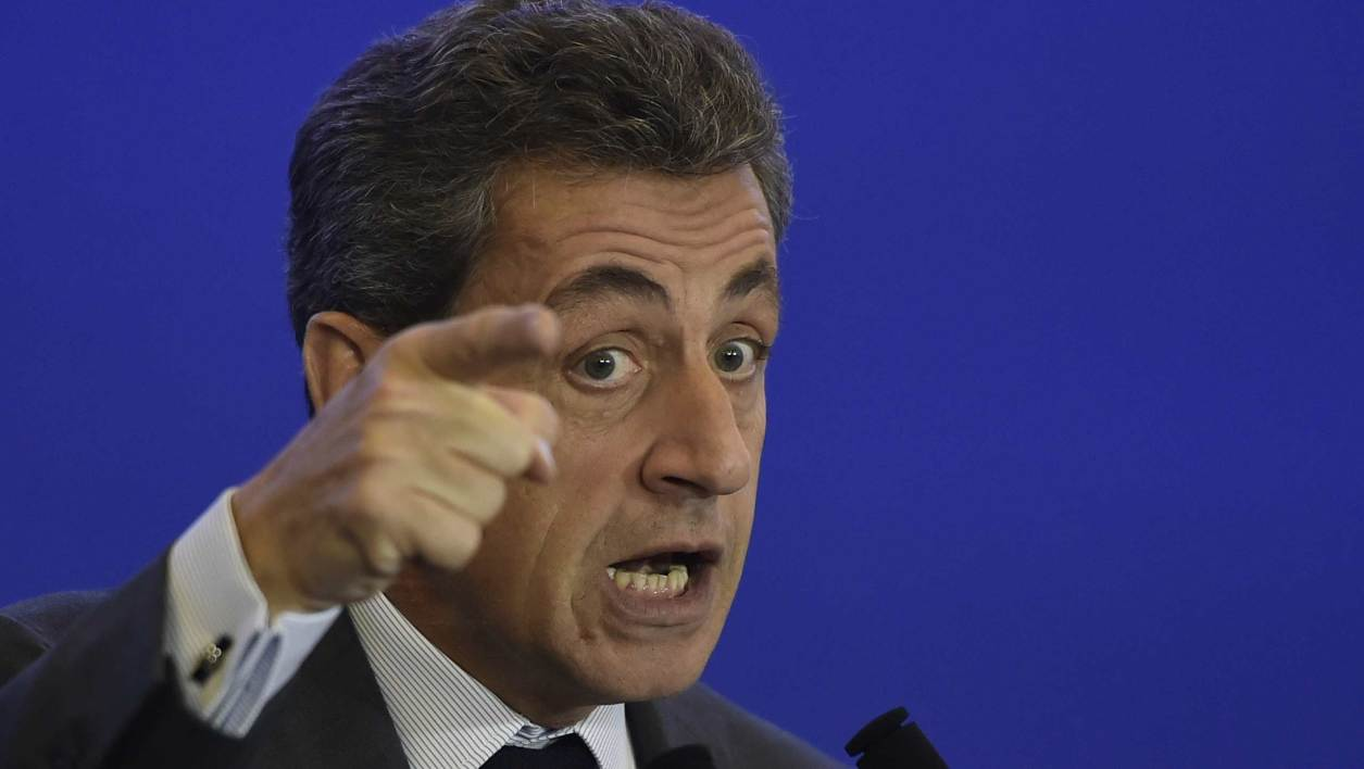"""Nicolas Sarkozy delivers the closing speech during a meeting on Agriculture and Rural Development in Paris on February 3, 2016. Sarkozy denounced what he termed as """"the severity of the identity crisis """" affecting the agricultural and rural sectors and suggested several """"strong"""" measures but also a """"Marshall Plan for the rural communities""""."""
