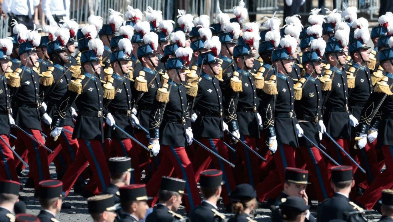 Members of the Ecole speciale militaire de Saint-Cyr (Special Military School of Saint-Cyr) march during the annual Bastille Day military parade on the Champs-Elysees avenue in Paris on July 14, 2017. The parade on Paris's Champs-Elysees will commemorate the centenary of the US entering WWI and will feature horses, helicopters, planes and troops. joel SAGET / AFP