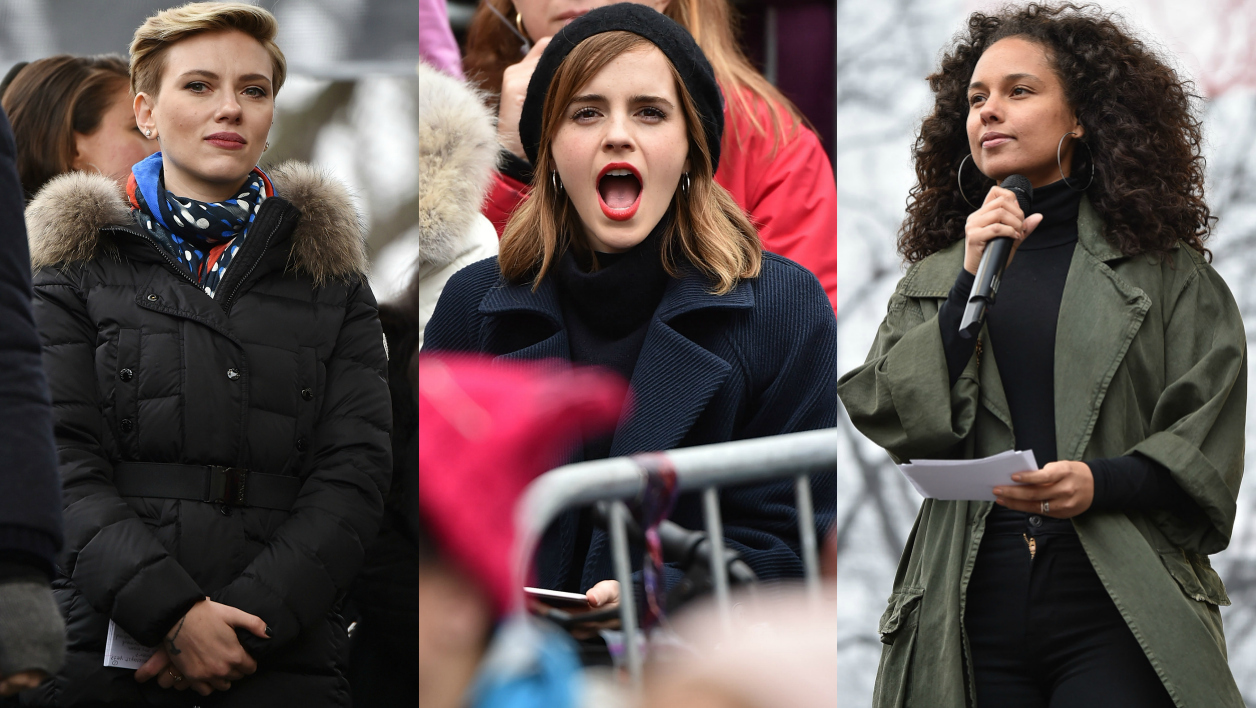 Scarlett Johansson, Emma Watson et Alicia Keys durant la Women's March à Washington