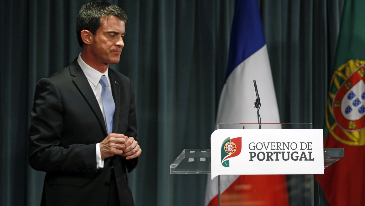 Manuel Valls en visite officielle au Portugal le 10 avril 2015.
