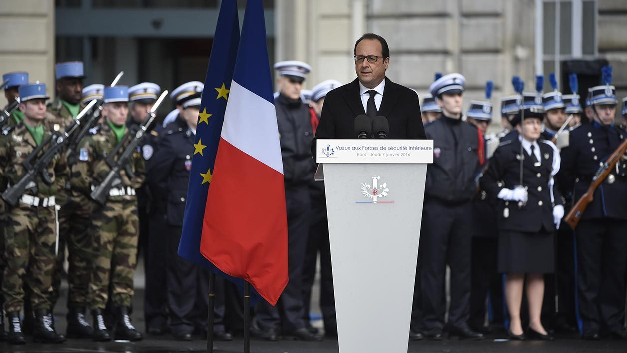 President Francois Hollande delivers New Year's wishes to anti-terror security forces (Sentinelle) at Paris's police headquarters, in Paris, on January 7, 2016, exactly one year after the attack targeting the French satirical newspaper Charlie Hebdo. The January 7, 2015 shootings at the Charlie Hebdo offices, which left 12 dead, were followed by an unprecedented series of killings in subsequent months that culminated in Islamic State attacks on Paris that left 130 dead. Hollande detailed plans toughening laws against organised crime and terrorism in his remarks to police.The reforms aim to introduce measures including more flexible rules of engagement for armed police and stronger stop-and-search powers. AFP PHOTO / POOL / MARTIN BUREAU