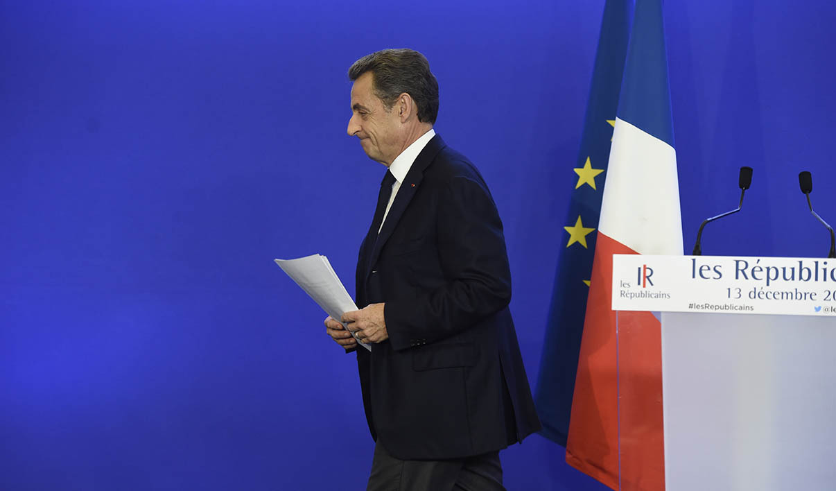 Nicolas Sarkozy, former French president and president of the right-wing Les Republicains (LR) party, delivers a statement after early estimates were released for the second round of the French regional elections in Paris on December 13, 2015. France's far-right National Front (FN) failed to win a single region in elections on December 13 despite record results in the first round, early estimates showed, as voters flocked to traditional parties to keep it out of power