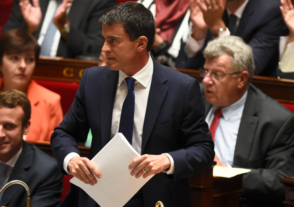 FRANCE, Paris : French Prime minister Manuel Valls is pictured prior to address members of the parliament prior to a parliamentary confidence vote, on September 16, 2004 at the French national assembly in Paris. Prime Minister Manuel Valls will outline the government's work programme and submit it to a vote, just weeks after former economy minister Arnaud Montebourg stepped out of line and publicly criticised the direction his country was taking, sparking an emergency cabinet reshuffle. AFP PHOTO / ERIC FEFERBERG