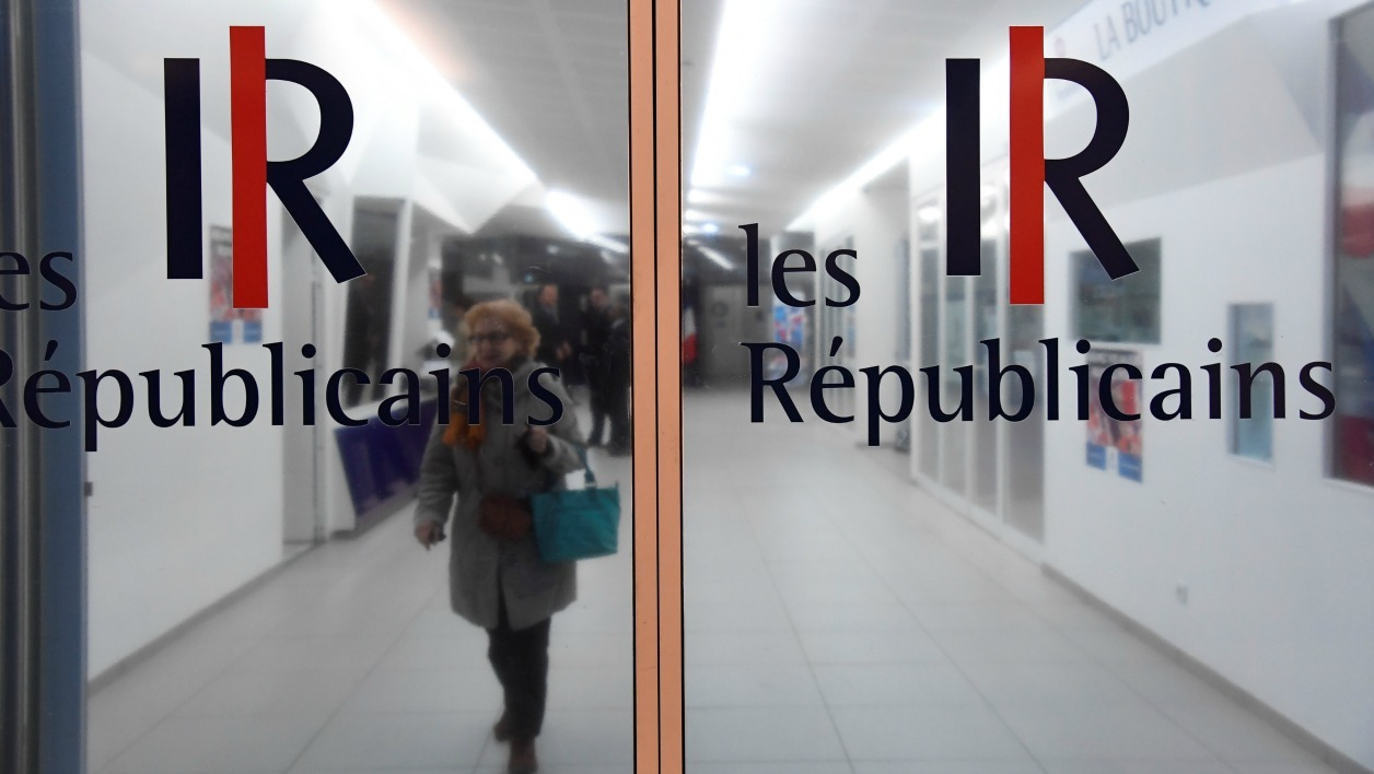A picture taken in Paris on November 29, 2016 shows the entrance of French right wing Les Republicains (LR) party's headquarter during a LR's members meeting on the party's organisation. Winner of the right-wing primaries ahead of France's 2017 presidential elections Francois Fillon named on November 29, 2016 Bernard Accoyer general secretary of the LR party, replacing Laurent Wauquiez, named first vice-president.