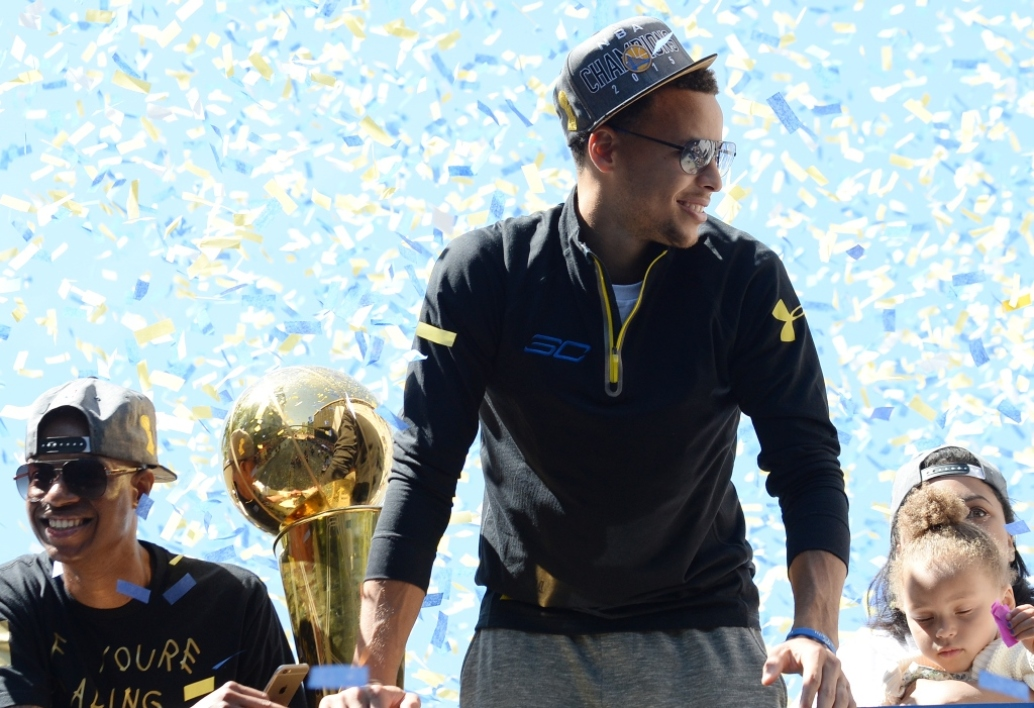 Steph Curry après le titre NBA des Golden State Warriors en juin