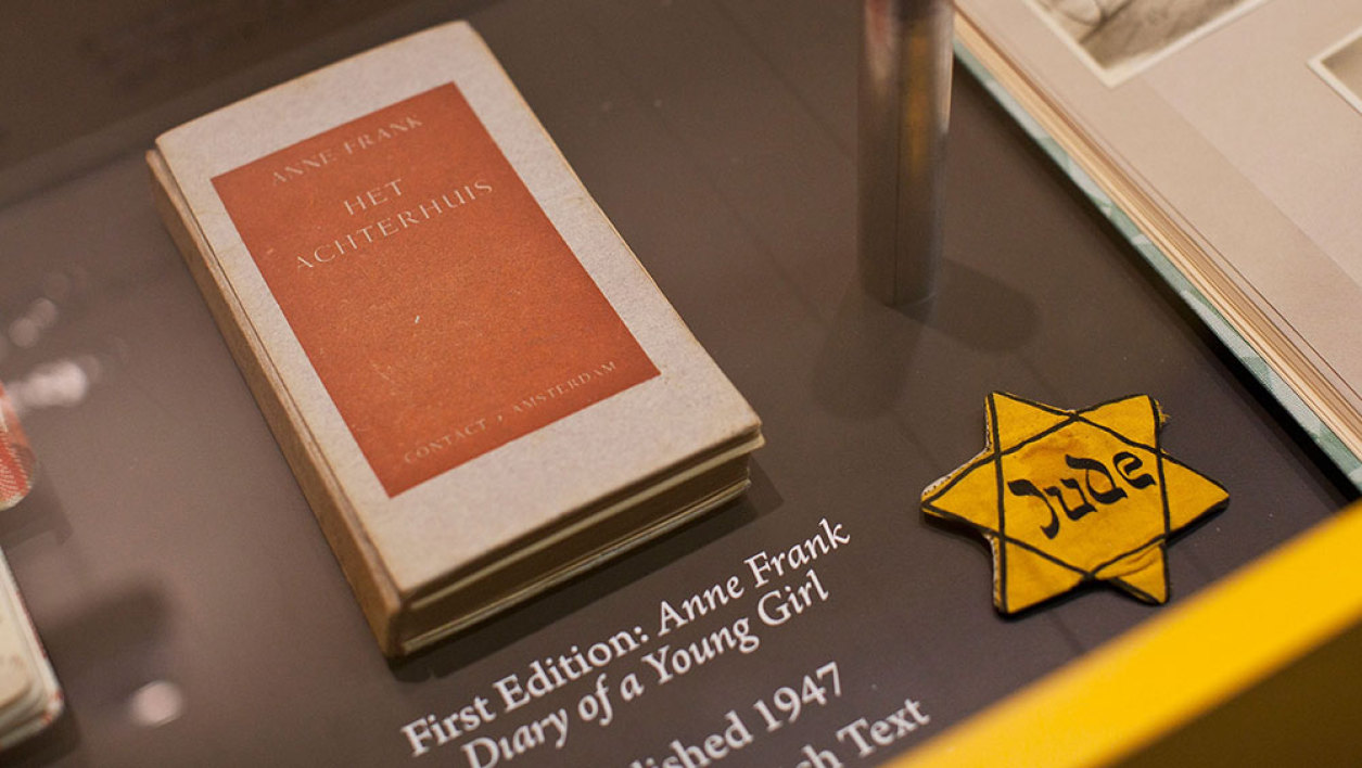 "A copy of the first edition of, ""Anne Frank: Diary of a Young Girl"" is seen on display at the Anne Frank Center USA on March 26, 2012 in New York City. The center, which opened on March 15, 2012, attempts to inspire tolerance by sharing about the life and thoughts of Anne Frank, a victim of the Holocaust."