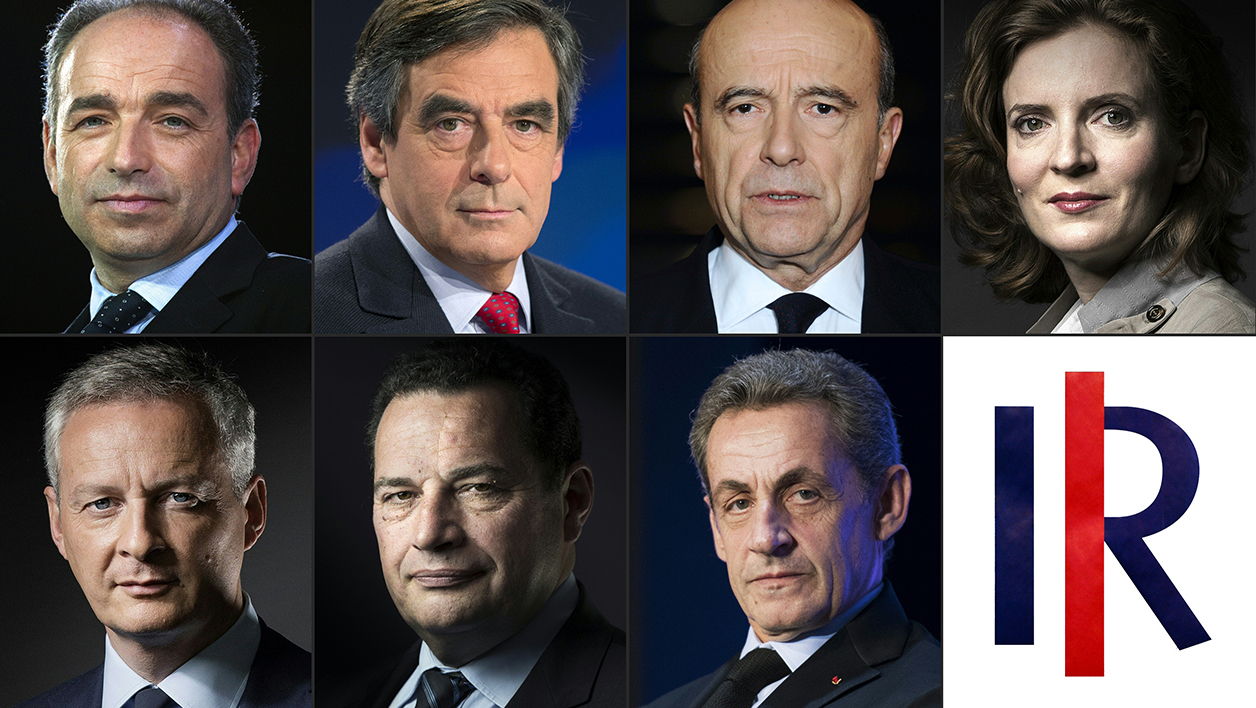 This file photo combination of pictures created on October 04, 2016 shows candidates for the right-wing Les Republicains (LR) party primaries ahead of the 2017 presidential election