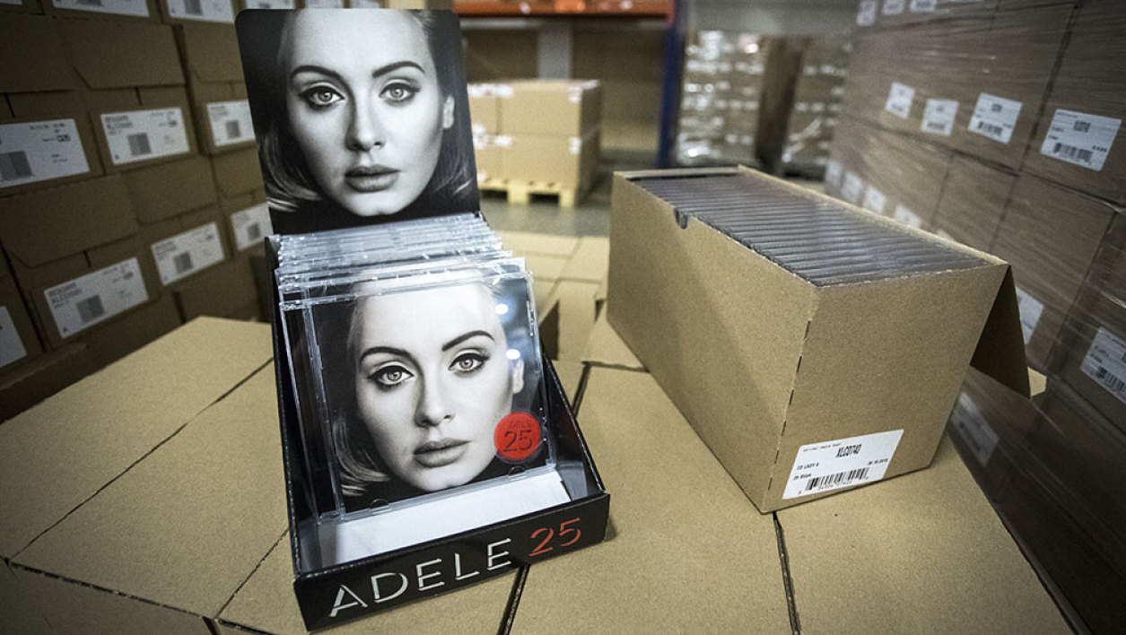 "The new album of British singer and songwriter Adele, entitled ""25"" is pictured at Bertus Wholesale and Distribution in Capelle aan de IJssel on November 19, 2015. Adele, who is now 27, said that turning 25 was ""about getting to know who I've become without realizing."""