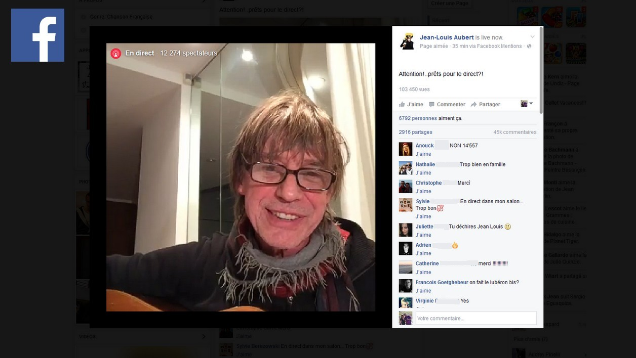 Jean-Louis Aubert en concert en direct sur Facebook.