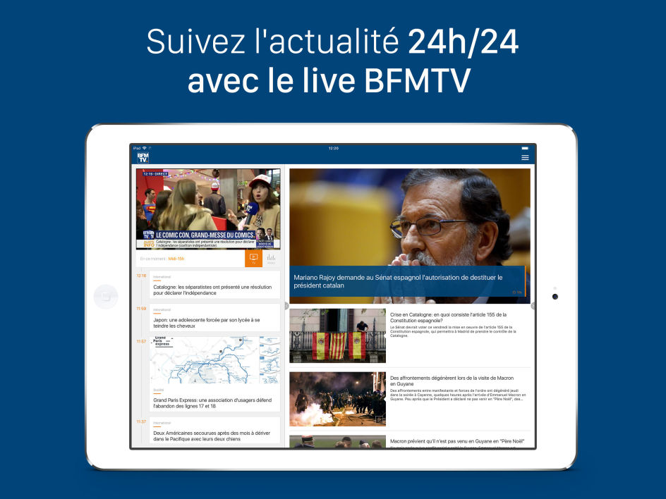 L'application tablette de BFMTV