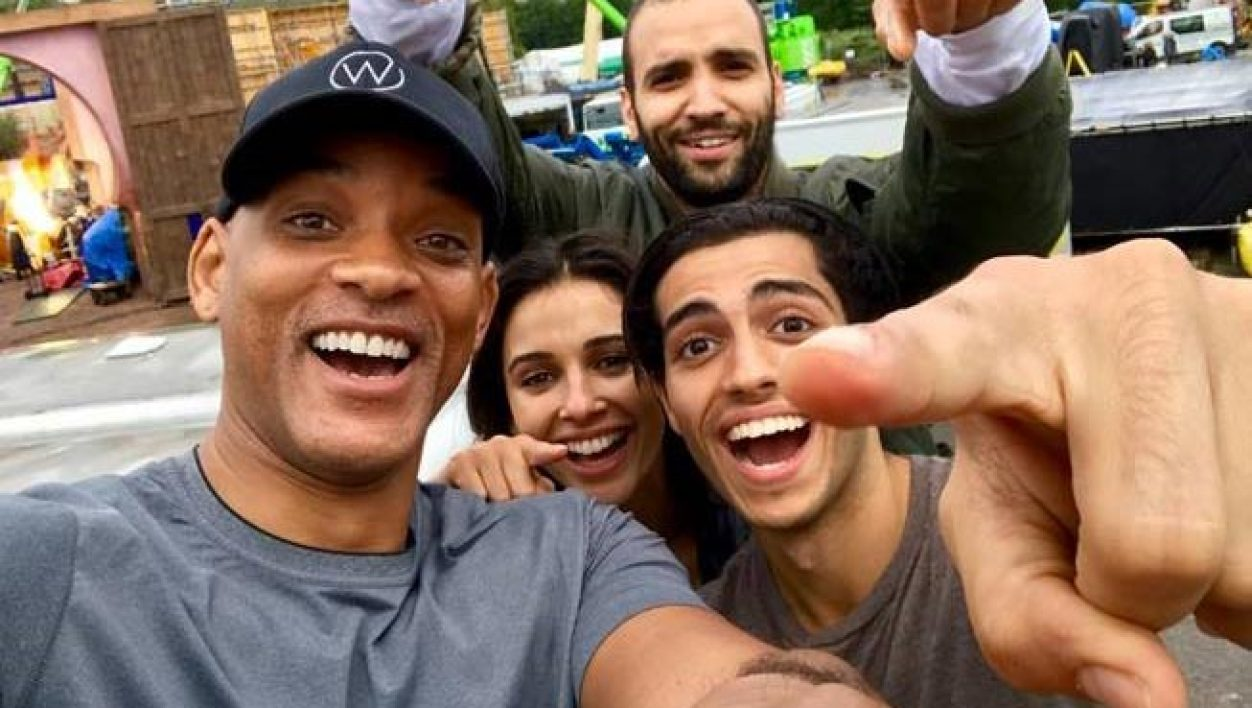 "Will Smith, Mena Massoud, Naomi Scott et Marwan Kenzari, les acteurs du film ""live"" Aladdin, dirigé par Guy Ritchie."