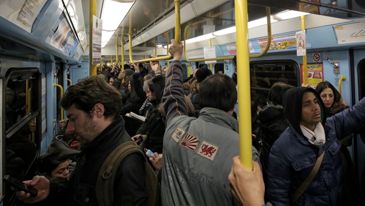 eople travel by underground in Milan on December 28, 2015. Drivers in Milan will face a limit on daytime travel three days as the northern Italian city tries to bring air pollution down from dangerous levels. A lack of rainfall has led pollution levels to climb in recent weeks, that has prompted the administration of the Lombardy region, of which Milan is the capital, to appeal to localities to cancel traditional New Year fireworks displays to prevent the smog worsening.