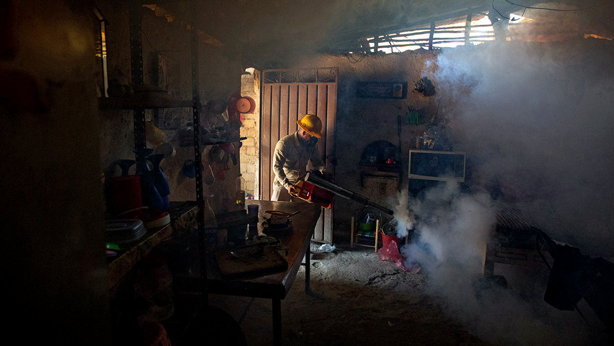 An employee of the Health Secretariat fumigates a home against the Aedes aegypti mosquito to prevent the spread of the Zika, Chikungunya and Dengue in Acapulco, Guerrero State, Mexico on February 2, 2016. AFP PHOTO/ Pedro PARDO